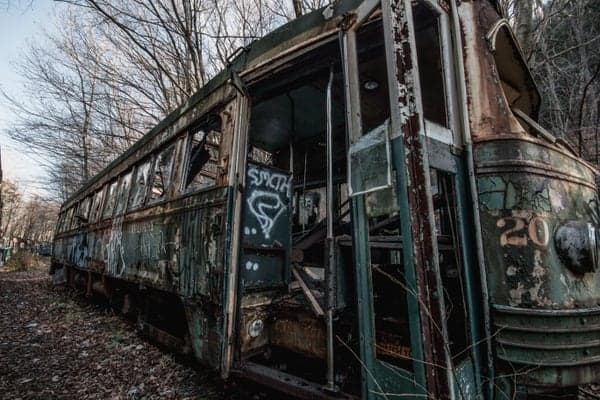 Abandoned trolley near Johnstown, Pennsylvania