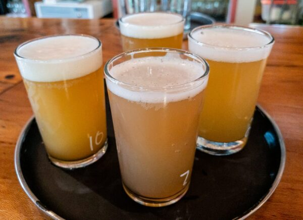 A flight of beer at Conny Creek Brewing in New Kensington, PA