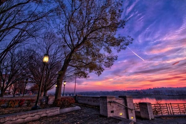 Sunset at Riverfront Park in Harrisburg, Pennsylvania