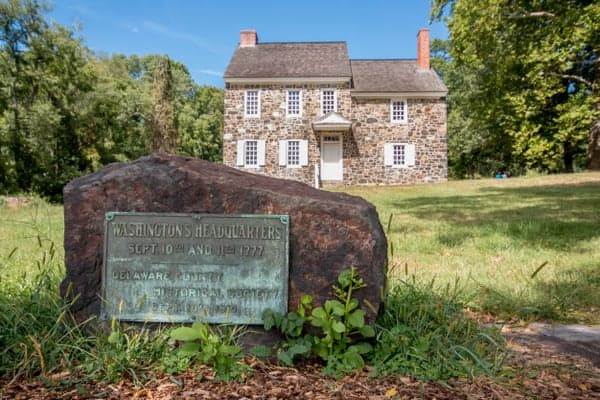 Outside of Washington's Headquarters at the Brandywine Battlefield.