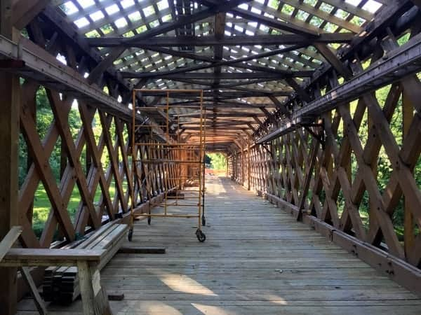 Martin's Mill Covered Bridge under construction