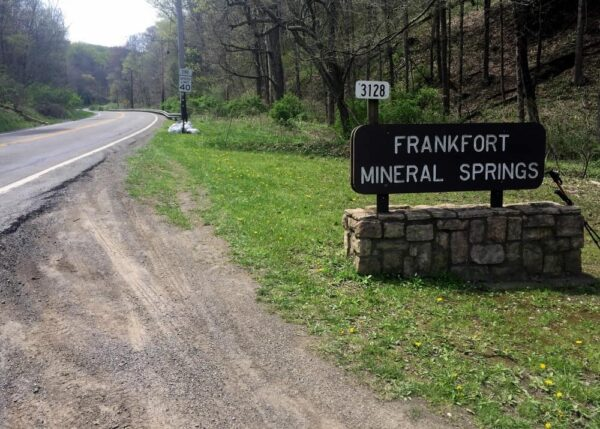 Hiking to Frankfort Mineral Springs Falls in Raccoon Creek State Park.
