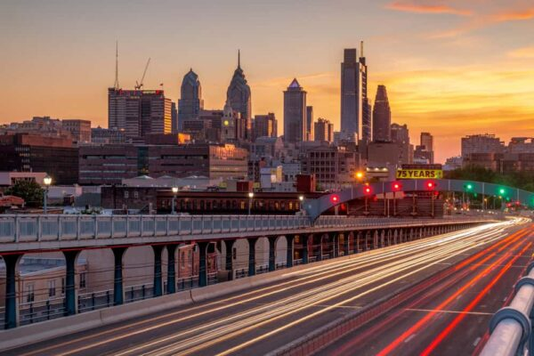 Views of Philly from the Benjamin Franklin Bridge