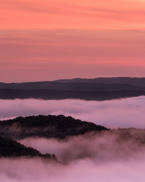 Foggy Sunrise over Raystown Lake from Ridenour Overlook in Huntingdon County PA