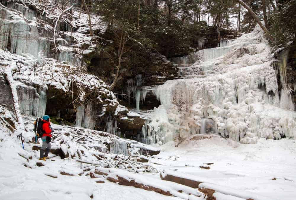 Hiking to Frozen Waterfalls at Ricketts Glen State Park in Pennsylvania