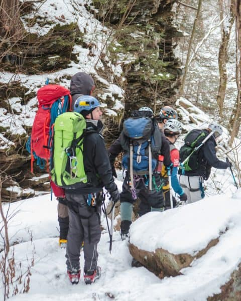 Winter hiking at Ricketts Glen State Park in Pennsylvania