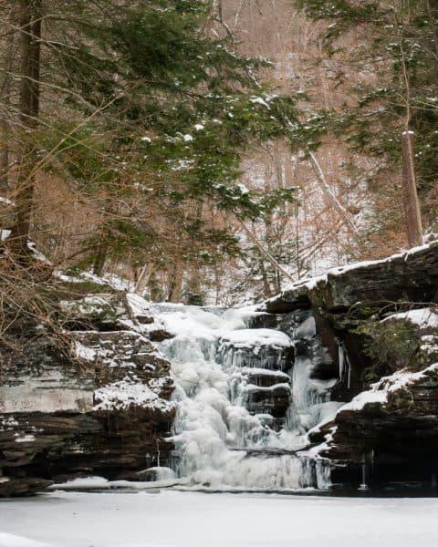 Frpzen waterfalls at Ricketts Glen State Park
