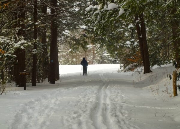 Cross-country skiing in Kooser State Park