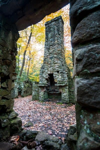 Stone ruins seen while hiking the Flat Rock Trail in Linn Run State Park.