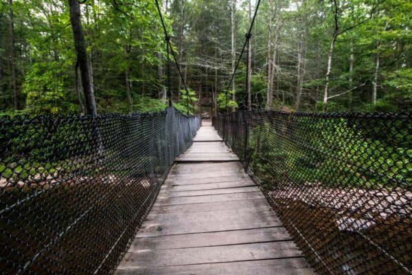 Suspension Bridge while hiking at Trough Creek State Park