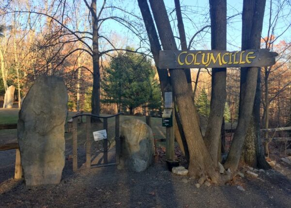 The entrance to Columcille Megalith Park in the Poconos
