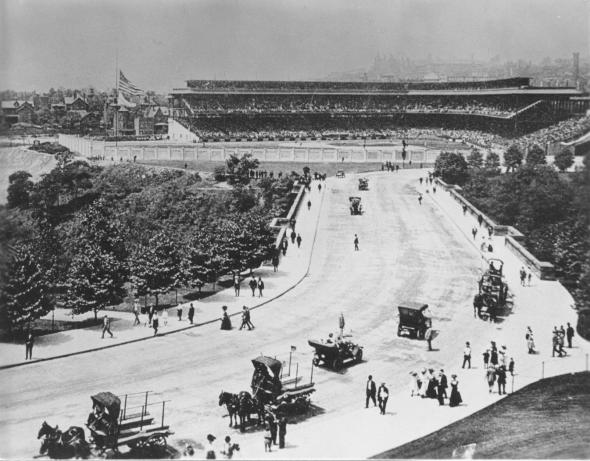 Historic photo of Forbes Field in Pittsburgh, Pennsylvania