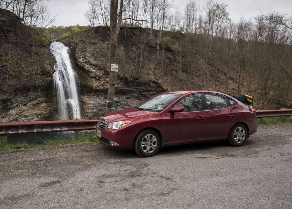 A car parked at Hinkston Run Falls in Cambria County, Pennsylvania