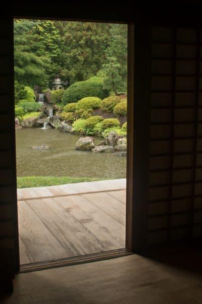 Looking through Shofuso towards the beautiful Japanese Gardens in Philadelphia, PA
