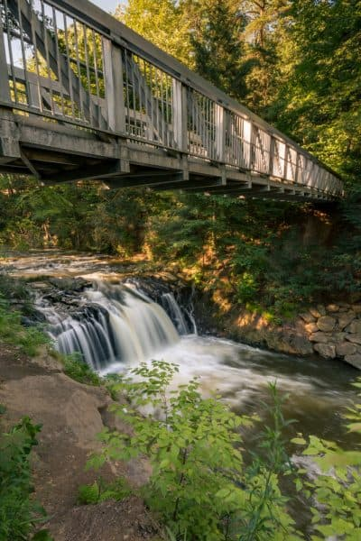 Waterfall in Pine Grove, PA with a bridge over it