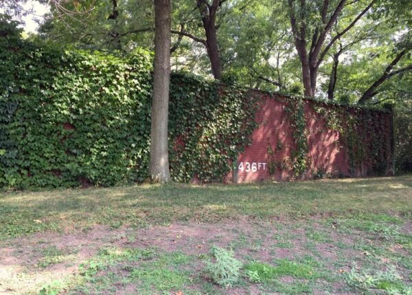 Outfield Wall of Forbes Field on the University of Pittsburgh campus.