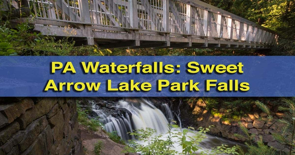 Waterfall at Sweet Arrow Lake Park in Pine Grove, Pennsylvania