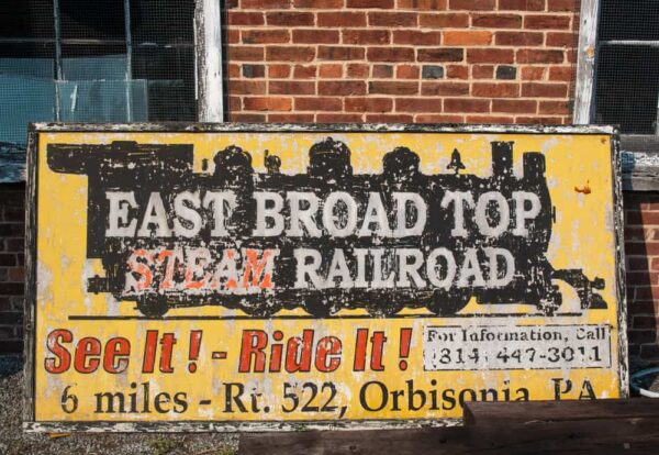 Ads for the East Broad Top Railroad in Rockhill, Pennsylvania