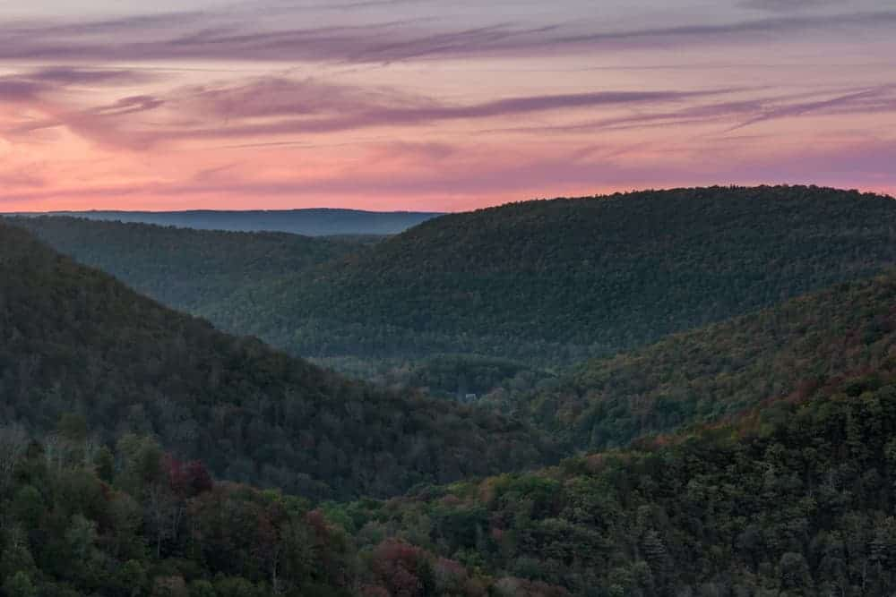 Sunset from Canyon Vista in Worlds End State Park.
