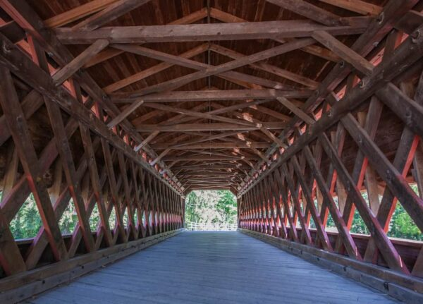 Inside Sachs Covered Bridge in Gettysburg, PA