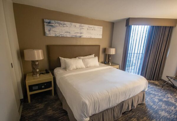 A king bedroom at the Embassy Suites in Center City Philadelphia.