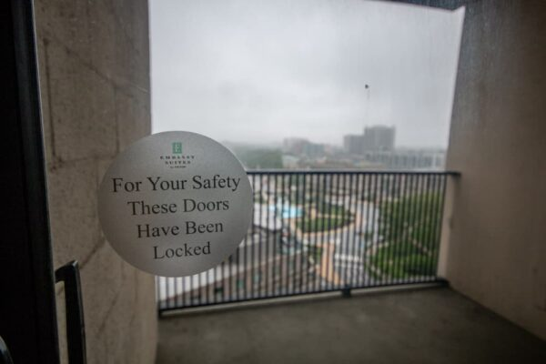 Locked balcony at the Embassy Suites Philadelphia Center City Hotel