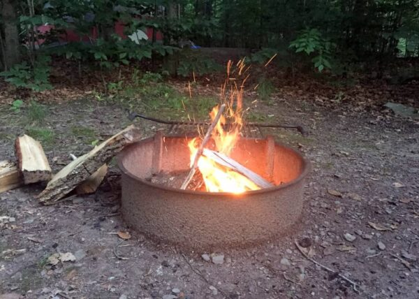 Camping at Ohiopyle State Park: campfire