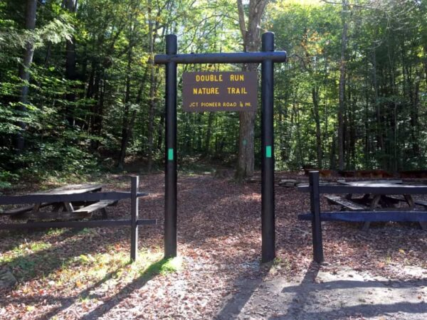 The trailhead for the Double Run Nature Trail in Worlds End State Park