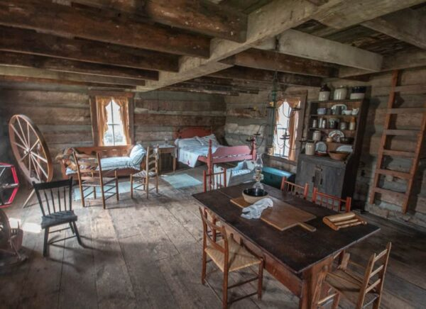 Inside the log cabin in Harmony, PA