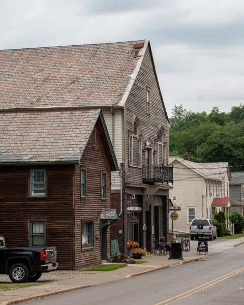 Buildings in the Harmony Historic District in western Pennsylvania