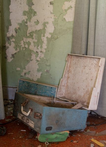 Record player inside an abandoned home in western Pennsylvania