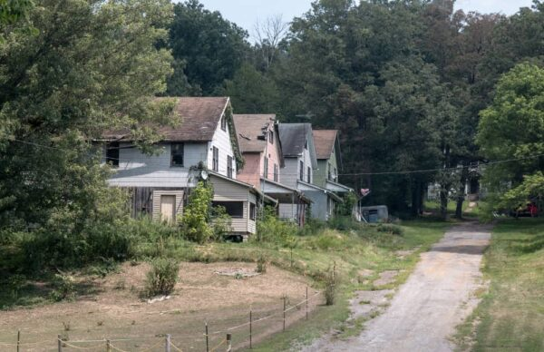 Homes in the ghost town of Yellow Dog Village near Kittanning, Pennsylvania