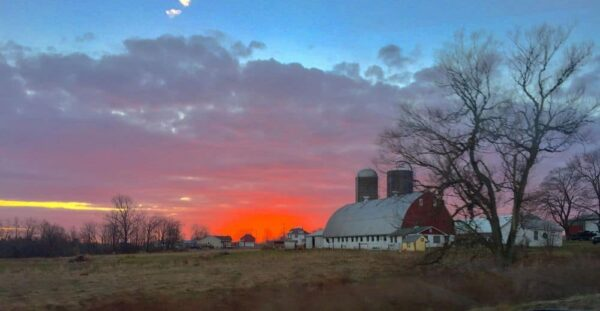 Sunset over a barn in the Laurel Highlands of PA