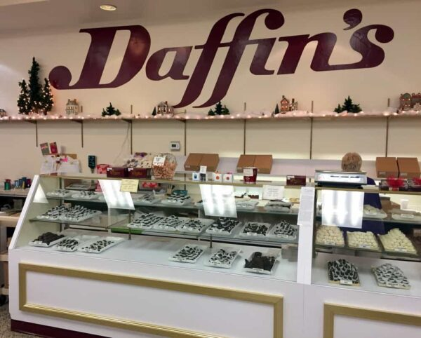 Chocolate counter at Daffin's Candies in Sharon, PA