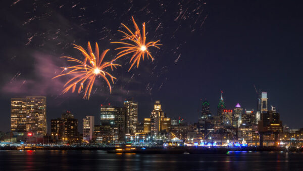 Philadelphia's New Year's Eve Fireworks from the Camden Waterfront