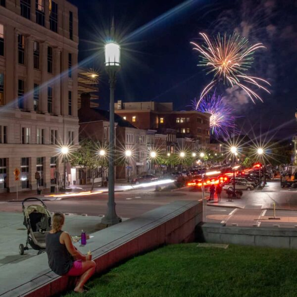 Harrisburg's fireworks from the Capitol steps.