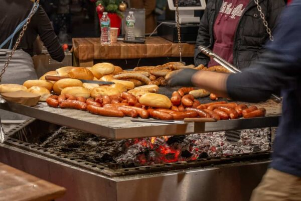 German Bratwurst at the Christmas Village in Philadelphia