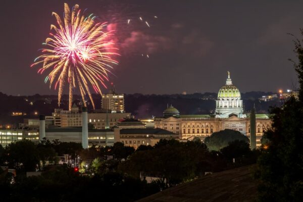 Harrisburg fireworks from Reservoir Park
