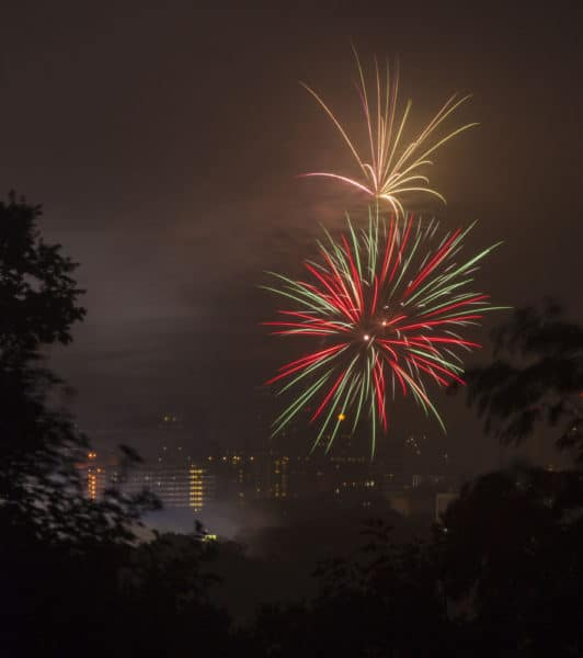 Fireworks from Negley Park near Harrisburg, Pennsylvania