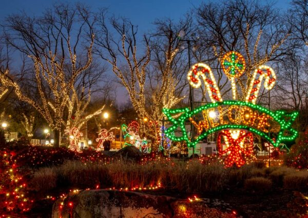 Welcome lights at Hersheypark Christmas Candylane in Hershey, Pennsylvania