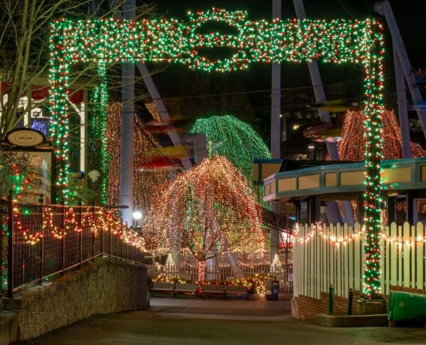 Lights during Christmas at Hersheypark in Hershey, PA