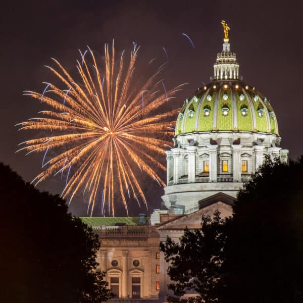 Fireworks in Harrisburg, PA over the Capitol
