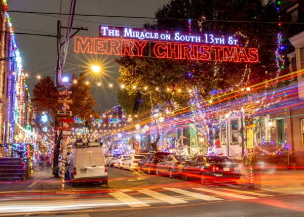 Miracle on South 13th Street in Philadelphia at Christmas.
