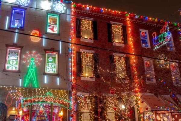 Decorated homes along South 13th Street in Philly