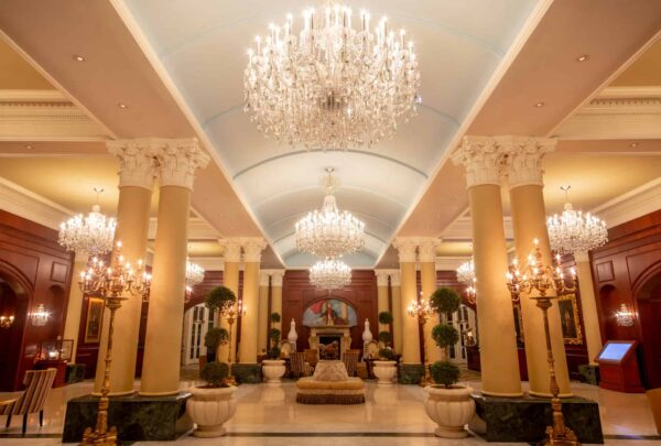 The lobby of the Chateau Lafayette at Nemacolin Woodlands Resort