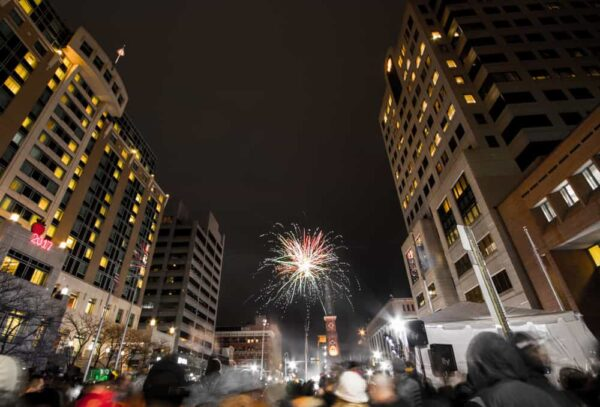 New Year's Fireworks in Harrisburg from Market Square