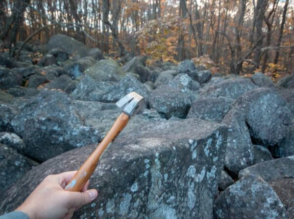 Hitting the ringing rocks at Stony Garden in Pennsylvania
