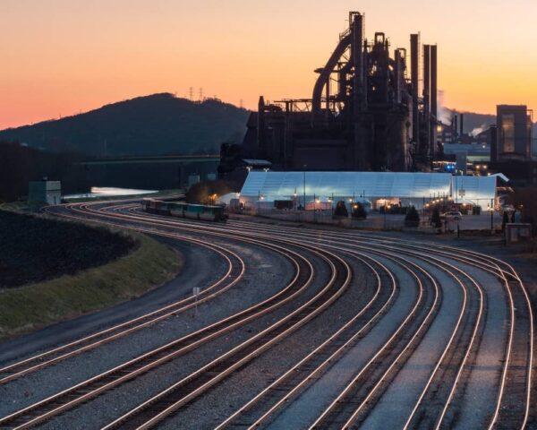 The SteelStacks in Bethlehem, Pennsylvania at sunrise