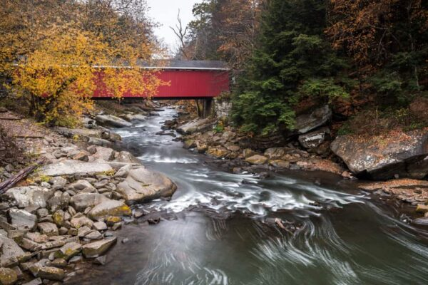 McConnell's Mill Covered Bridge during Fall in PA