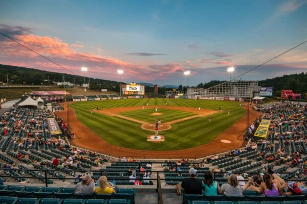 Altoona Curve baseball game at sunset